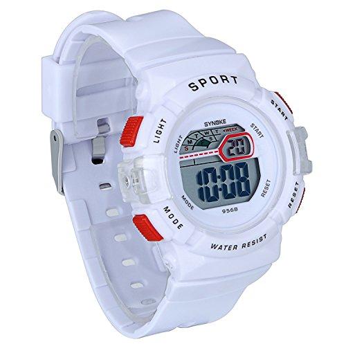 JewelryWe Kids Sport Digital Watch Outdoor Stopwatch LED Electronic Wrist Watches for Boys Girls (White)