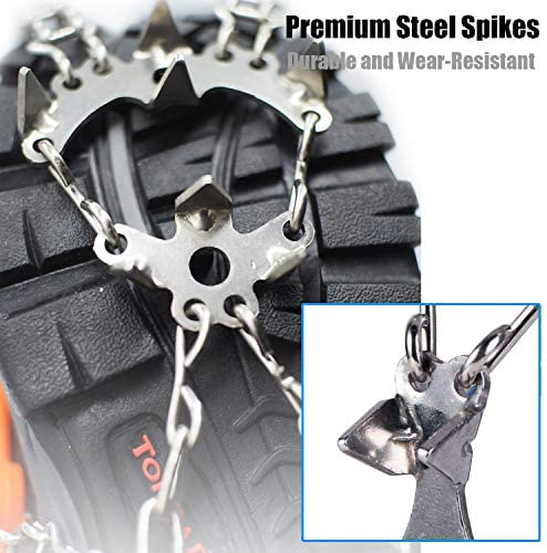 Hapshop Crampons-19 Teeth Stainless Steel Anti Slip Ice Cleats,Micro Spikes ice Snow Grips Traction Cleats System Safe Protect for Walking,Suitable for Walking on ice, Jogging or Hiking