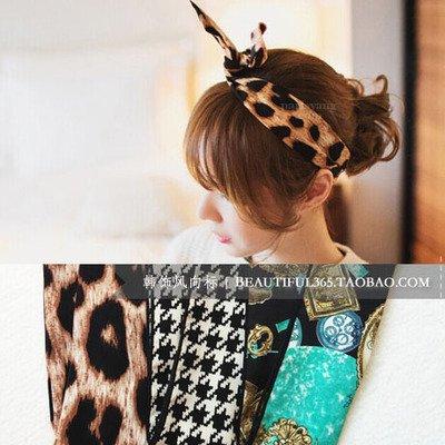 usongs Korea imported genuine leopard/plover/pocket watch soft wire concave shape rabbit ears headband hair band width