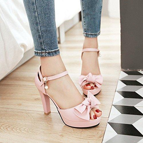 Easemax Womens Trendy Bowknot Allacciate Peep Toe Abito Grosso Tacchi Sandali Cinturino Alla Caviglia Rosa
