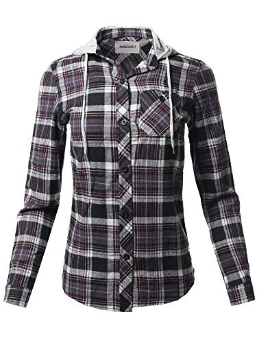 (Awesome21 Causal Flannel Button-Down Mandarin Collar Hoodie Shirt Black Pink L)