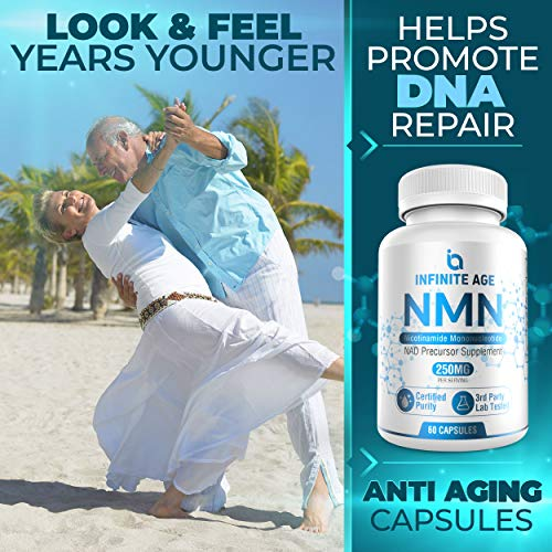 517E%2B 7E gL - Infinite Age PURE NMN (250mg) | Nicotinamide Mononucleotide Supplement | Support Optimal Brain Function| NAD Anti-Aging Support | Supports Health Energy Production I 60 Capsules
