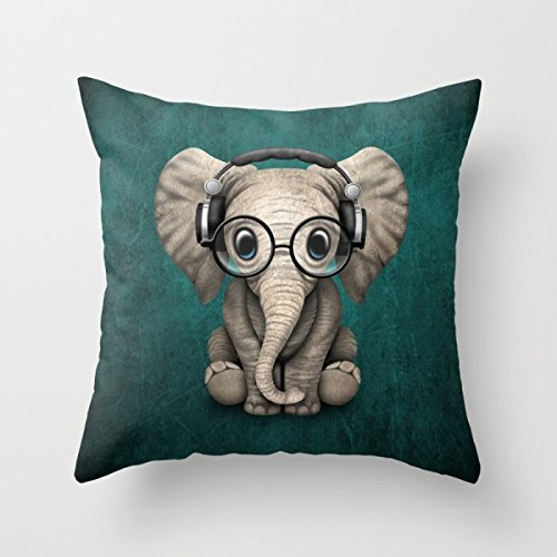 loveloveu 16 x 16 inches / 40 by 40 cm slimmingpiggy comfortable bedding listen to the music of the cartoon elephant 16x16 inch pillow case throw cushion covers , two sides ornament and gift to dinin Amoior