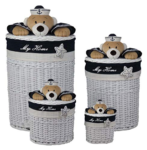 Decozen Set of 4 White Willow Baskets with Blue Fabric Star and Navy Bear Decoration Laundry Hampers Willow Baskets with Lid Multi-Purpose Baskets Storage Baskets Easy to Clean (White Willow Laundry Basket)