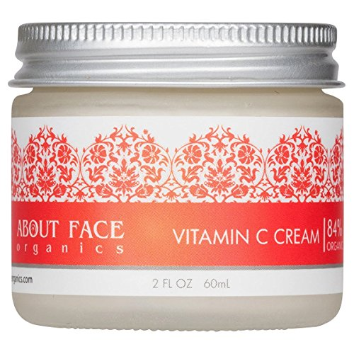 Vitamin C Cream Hyaluronic Acid, B3 and E by About Face Organics   Daily Vitamin C for Face   84% Organic   Paraben & Cruelty Free, 2 Ounces