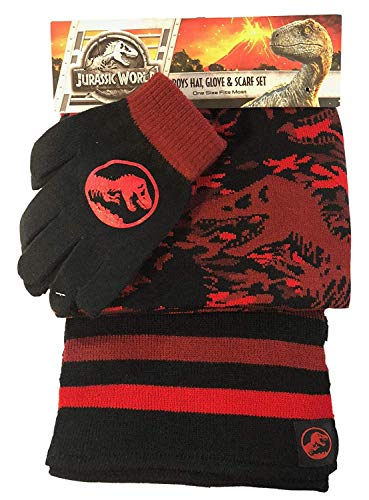 Jurassic World Dinosaur Trex Red Black Hat Glove Scarf Set for Boys (Boys Hats And Gloves)
