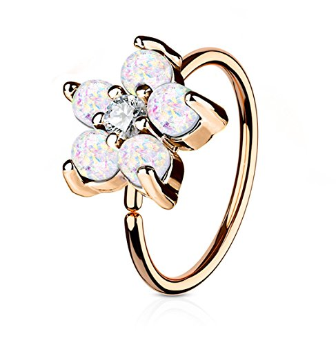 20g 8mm Rose Gold IP Surgical Steel White Opalite Flower and CZ Nose Ring and Cartilage Hoop