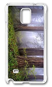 MOKSHOP Adorable foggy redwoods Hard Case Protective Shell Cell Phone Cover For Samsung Galaxy Note 4 - PC Transparent