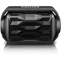 Philips BT2200B/27 Shoqbox Mini Rugged Compact Wireless Waterproof Outdoor or Shower Portable Bluetooth Speaker (Black) Float in Water Technology and Built-In Mic for Phone Calls