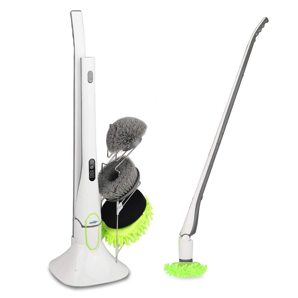 Spin Scrubber, ADPOW Upgraded Electric Spin Scrubber with LED Display, Cordless Power Household Extension Handle Shower Cleaner Including Scrubber Brushes Mops Sponge and Storage Rack
