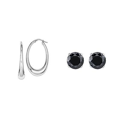 Sterling Silver Polished Hoop Earrings and a pair of 4mm CZ Stud Earrings