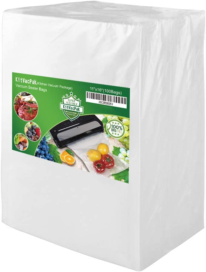 KitVacPak 100 Gallon11X16 Food Saver Vacuum Sealer Bags with Commercial Grade, BPA Free, Heavy Duty.Vacuum Sealer Freezer Bags Compatible with FoodSaver,Weston,Seal a Meal plus Other Machine.