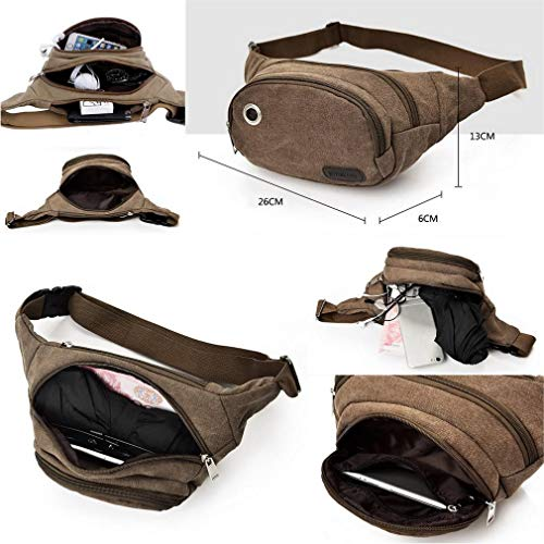 Black Pack Casual Bags For Canvas Outdoors body Climbing Bigood Unisex Waist Cross Sport Hiking tBYOwvq
