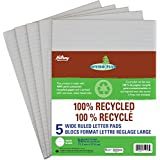 Hilroy 51056 Enviro-Plus Recycled Writing Pads, 8 mm Wide Ruled, 8-3/8x10-7/8-Inch, 50-Sheets, 5/Pack
