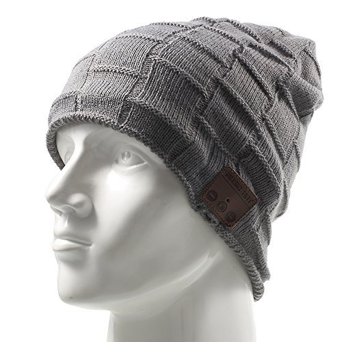 Wireless Music Hat, Knit Winter Warm Beanie w/ Built-in Compatible with Bluetooth Stereo Headphone, Microphone for Hands-Free Calling - Dark Gray