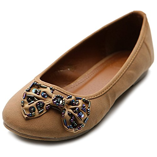 RhineStone Shoe Flat Cute Low Ballet Womens Heel Ollio Brown wqxzYP0p