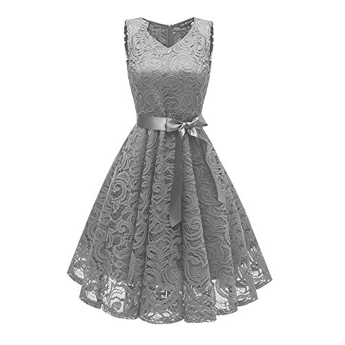 iLUGU Women Vintage Princess Floral Lace Cocktail V-Neck Party Aline Swing Dress