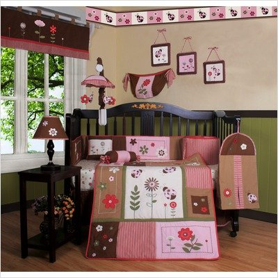 Boutique Geenny Ladybug Flower 13pcs Crib Bedding Set by GEENNY