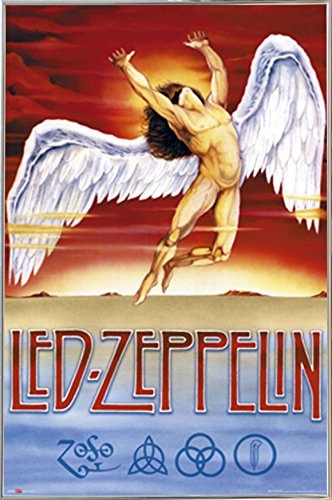 Led Zeppelin - Swan Song Poster in a Silver Metal Frame  041