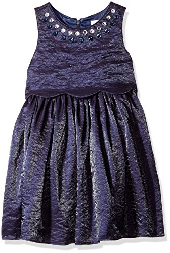 [Sweet Heart Rose Little Girls' Popover Shantung Occasion Dress with Rhinestone Neck, Blue, 6] (Sweetheart Girl)