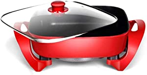 ZNSBH Housewares Electric Wok Multifunction Electric Skillet Stir Fry Pan with Temperature Control Cool Touch Handles & Toughened Glass Cover Non-Stick Hot Pot, 6L, 1500W, Red