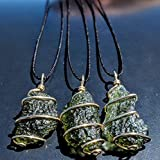 "MOLDAVITE Necklace in Gold! 12 Kt 19"" Necklace"