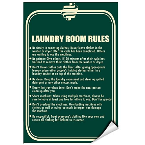 Follow Rules: To Achieve Good Laundry Room Business Sign LABEL DECAL STICKER 12 inches x 18 inches