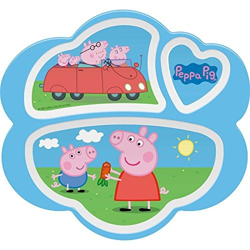 Peppa Pig 3-Section Plate, Break Resistant and BPA-free plastic by Zak! Designs -