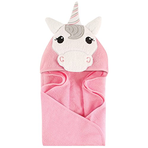 Hudson Baby Unisex Baby Animal Face Hooded Towel, Unicorn 1-Pack, One Size -