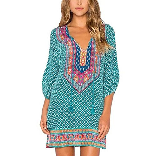 TAORE Bohemian Neck Tie Vintage Printed Ethnic Style Summer Shift Dress (M, Green)