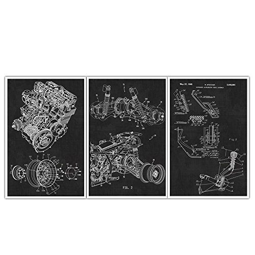 automotive-gears-and-pedal-engine-suspension-patent-wall-art-patent-poster-set-of-3-blueprints-paten