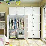 Elpitha Wardrobe Portable Clothes Closet Organizer Bedroom Armoire Dresser Cube Storage,10 Cubes&2 Hanging Section