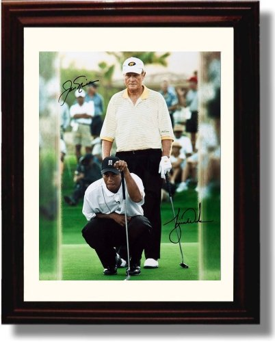 Framed Jack Nicklaus and Tiger Woods Autograph Replica Print