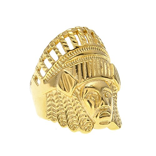 HongBoom Hot Hip Hop Rings 18K Gold Plated CZ CRYSTAL Fully Iced-Out Indian chief Ring (8)