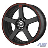 mustang 2015 rims and tires - Motegi Racing MR116 Matte Black Finish Wheel with Red Accents (17x7