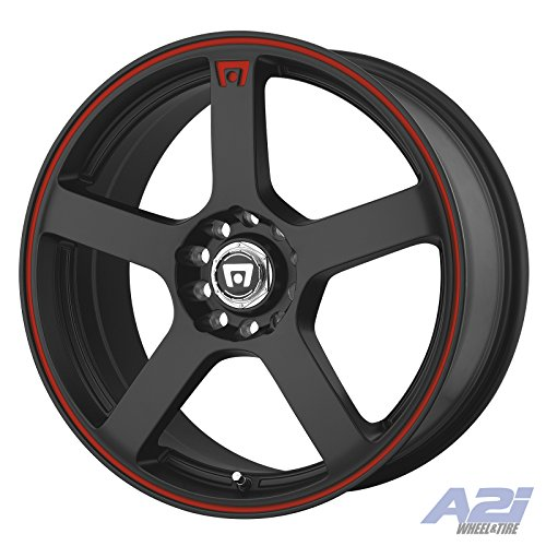Stripe Matte (Motegi Racing MR116 Matte Black Wheel With Red Racing Stripe (16x7