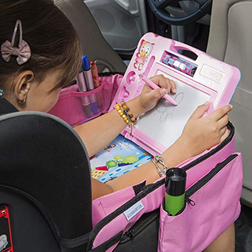 Pink Toddler Car Seat Travel Tray | +Bonus 2 in 1 Magnetic Doodle Board & Chalkboard | Kids Carseat Activity Tray, Lap & Play Tray for Car Seat and Stroller by Kidsmarter by KIDSMARTER (Image #6)