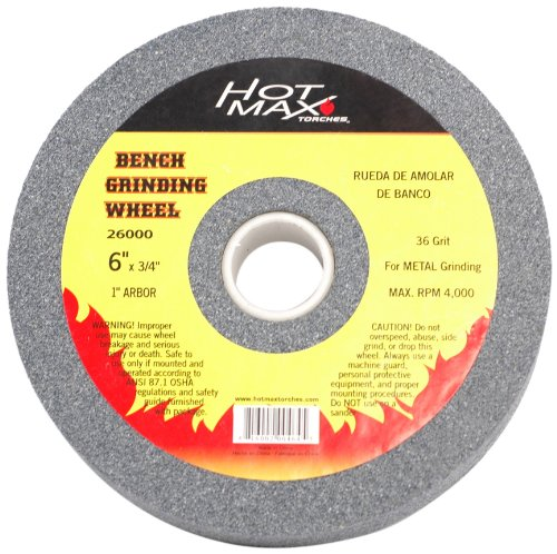 Hot Max 26002 6-Inch by 3/4-Inch by 1-Inch Arbor Bench Grinding Wheel, 80 Grit by Hot Max