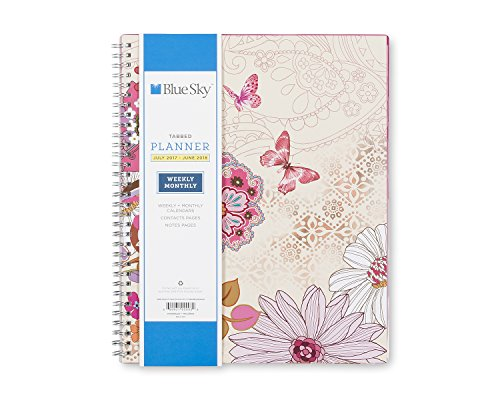 """Blue Sky 2017-2018 Academic Year Weekly & Monthly Planner, Twin-Wire Bound, 8.5"""" x 11"""", Lianne Pink -  Blue Sky the Color of Imagination, LLC, 100093"""
