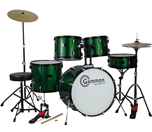 new-metallic-green-drum-set-full-size-5-piece-kit-with-cymbals-stands-throne-and-sticks
