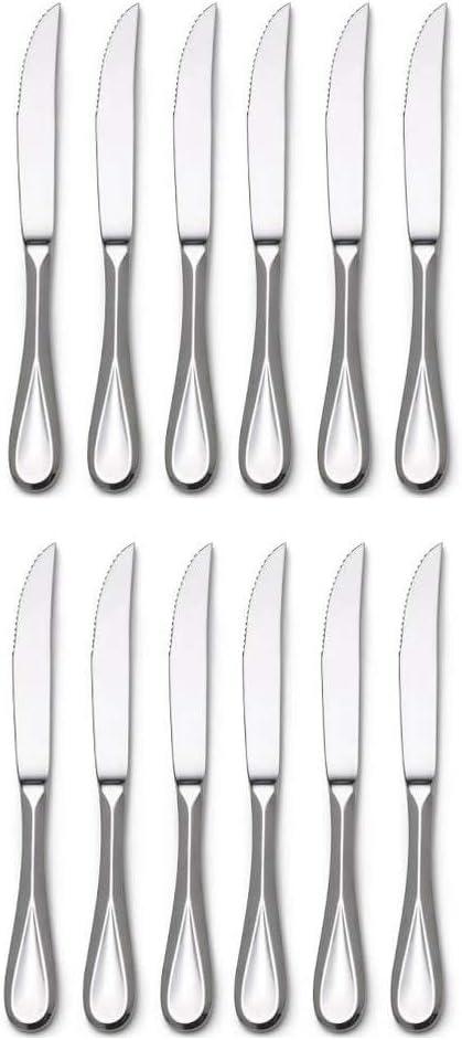 Mikasa Bravo Premium Stainless Steel Steak Knife, Silver (Set of 12)