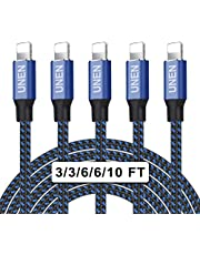 UNEN iphone Charger(3/3/6/6/10FT)5 Pack-Black and Blue