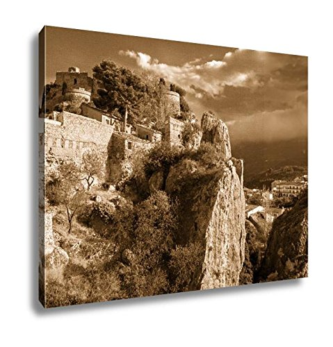 Ashley Canvas Remains Of The Ancient Fortress San Jose Castle In Guadalest Spain, Wall Art Home Decor, Ready to Hang, Sepia, 16x20, AG6535063 by Ashley Canvas