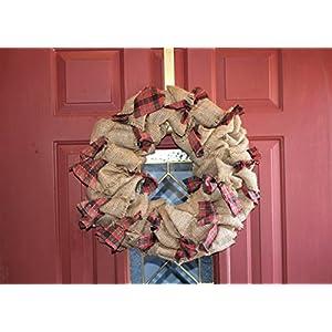 Traditional Holiday Wreath, Burlap & Christmas Plaid Rag Wreath 103