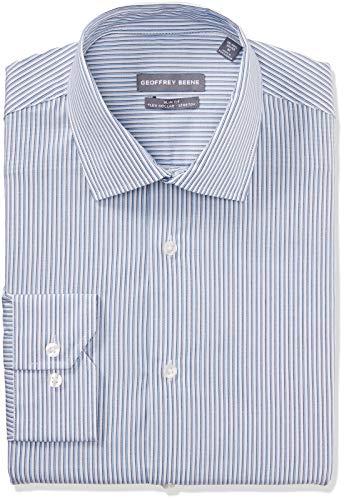 Geoffrey Beene Men's Dress Shirt Slim Fit Stretch Stripe, Blueberry, 17
