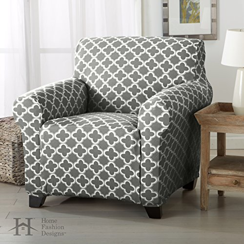Form Fit, Slip Resistant, Stylish Furniture Cover / Protector Featuring Lightweight Stretch Twill Fabric. Brenna Collection Basic Strapless Slipcover. By Home Fashion Designs Brand. (Chair, Charcoal)