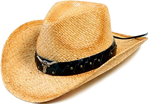 YoungLove Men and Women Costume Straw Cowboy Hat with Decor,Nature_Bull by YoungLove