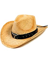 Western Structured Curved Brim PU Leather Banded Straw Cowboy Hat