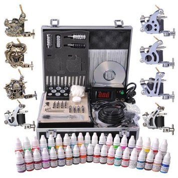Tattoo Kit 8 Guns LCD Power Supply 54 Ink w/ Case from Newleaf by New Leaf