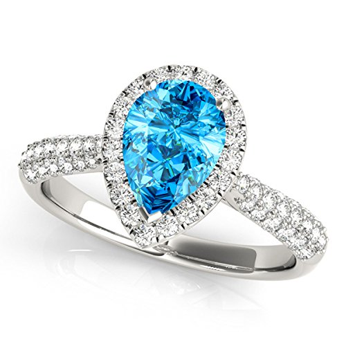 1.55 Ct. Ttw Diamond and Pear Shaped Blue Topaz Ring in 10K White Gold (Pear Topaz Shaped)
